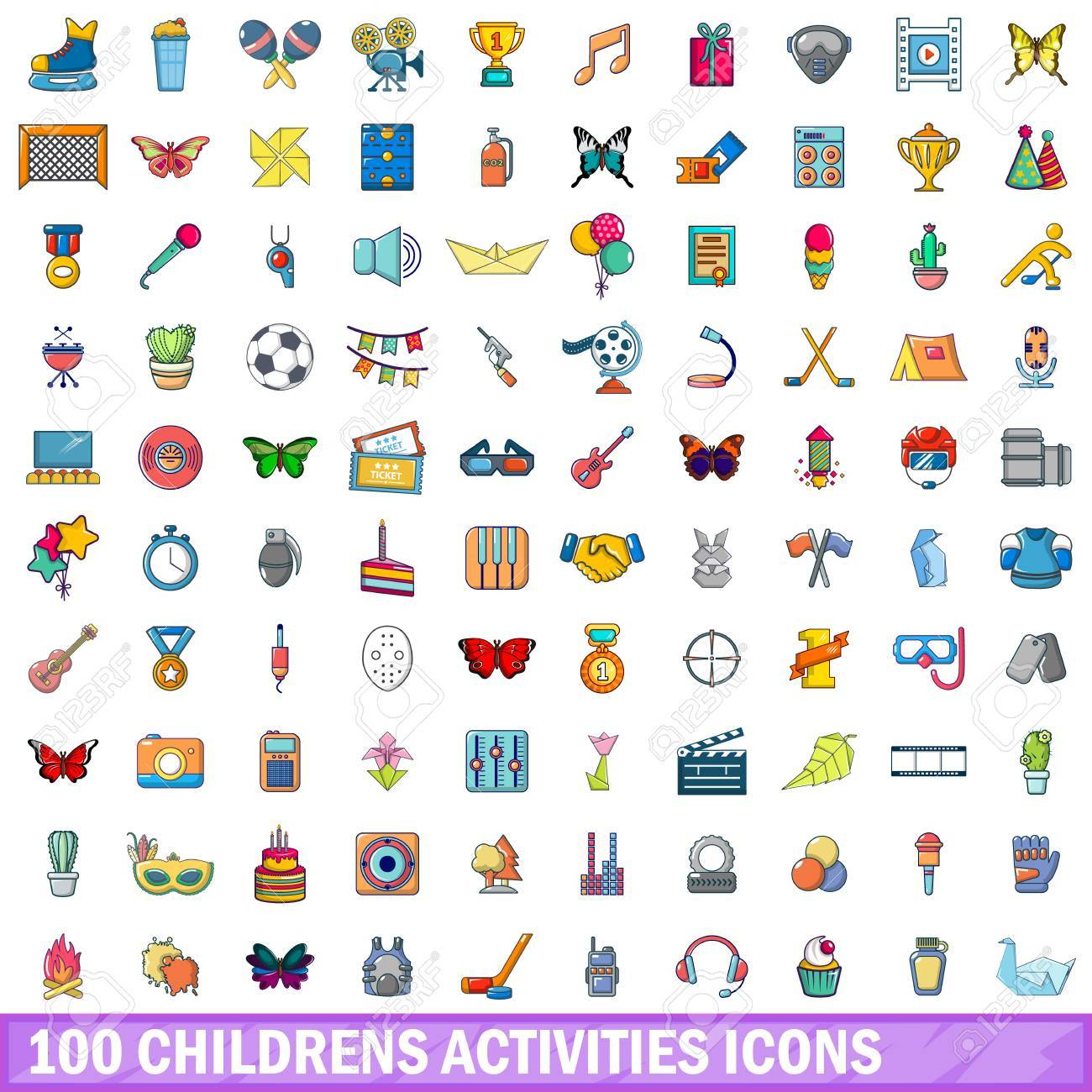 100 childrens activities icons set. Cartoon illustration of 100 childrens activities vector icons isolated on white background - 88751884