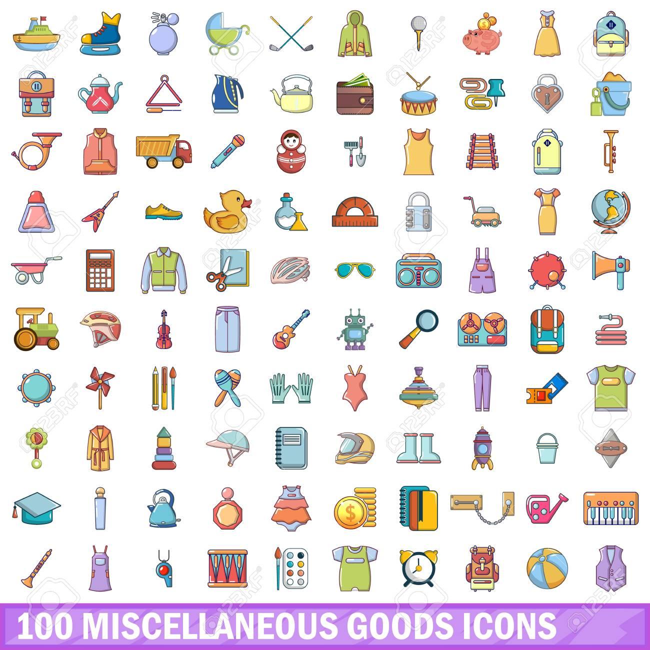 100 雑貨アイコンを設定します。白い背景に分離された 100 雑貨ベクトル