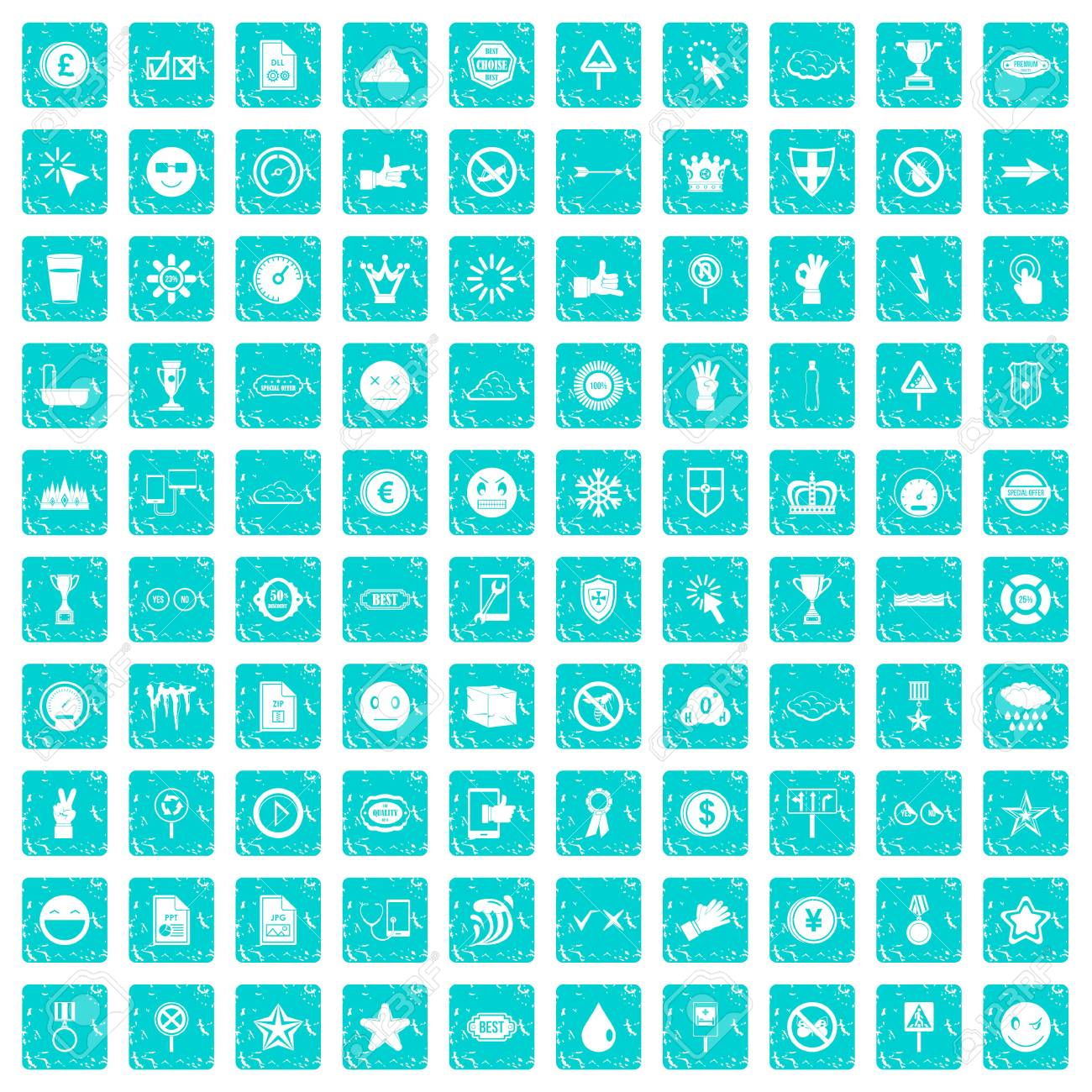 100 symbol icons set in grunge style blue color isolated on white 100 symbol icons set in grunge style blue color isolated on white background vector illustration stock buycottarizona Image collections