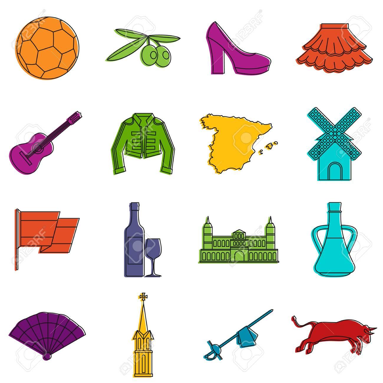 95301fee99afa Conjunto de iconos de viajes de España. Garabatee la ilustración de los  iconos del vector