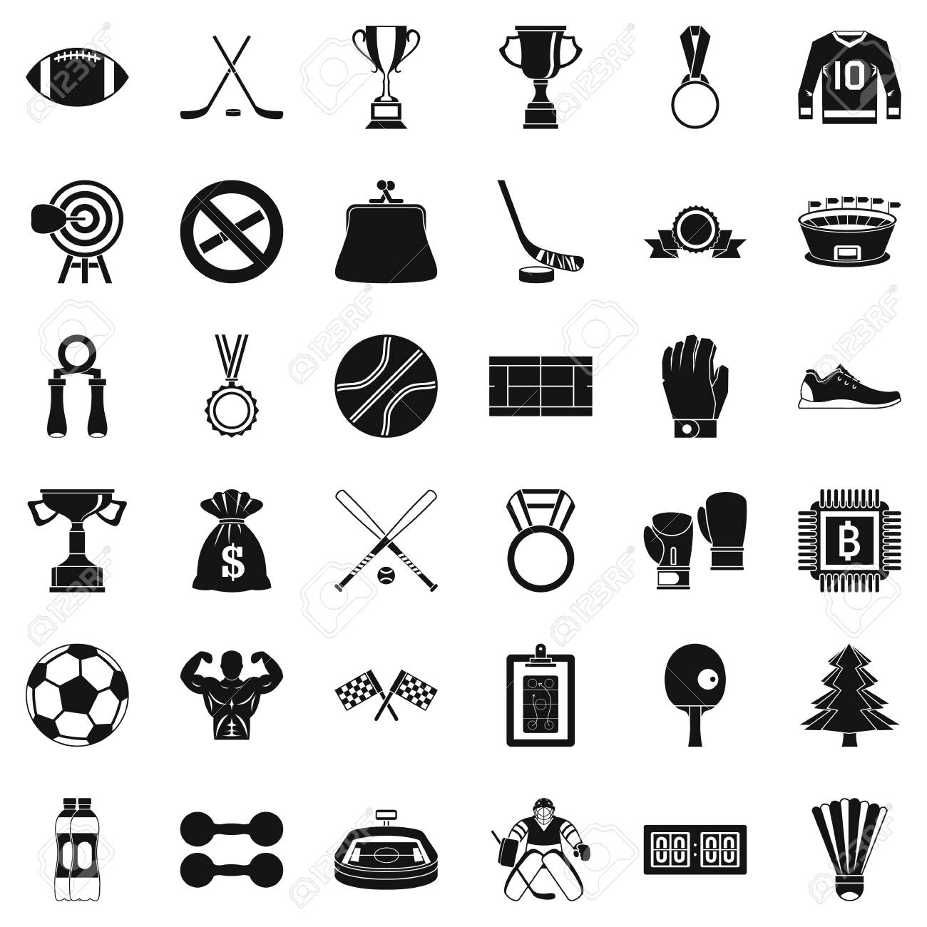 Simple style of 36 game vector icons for web isolated on white