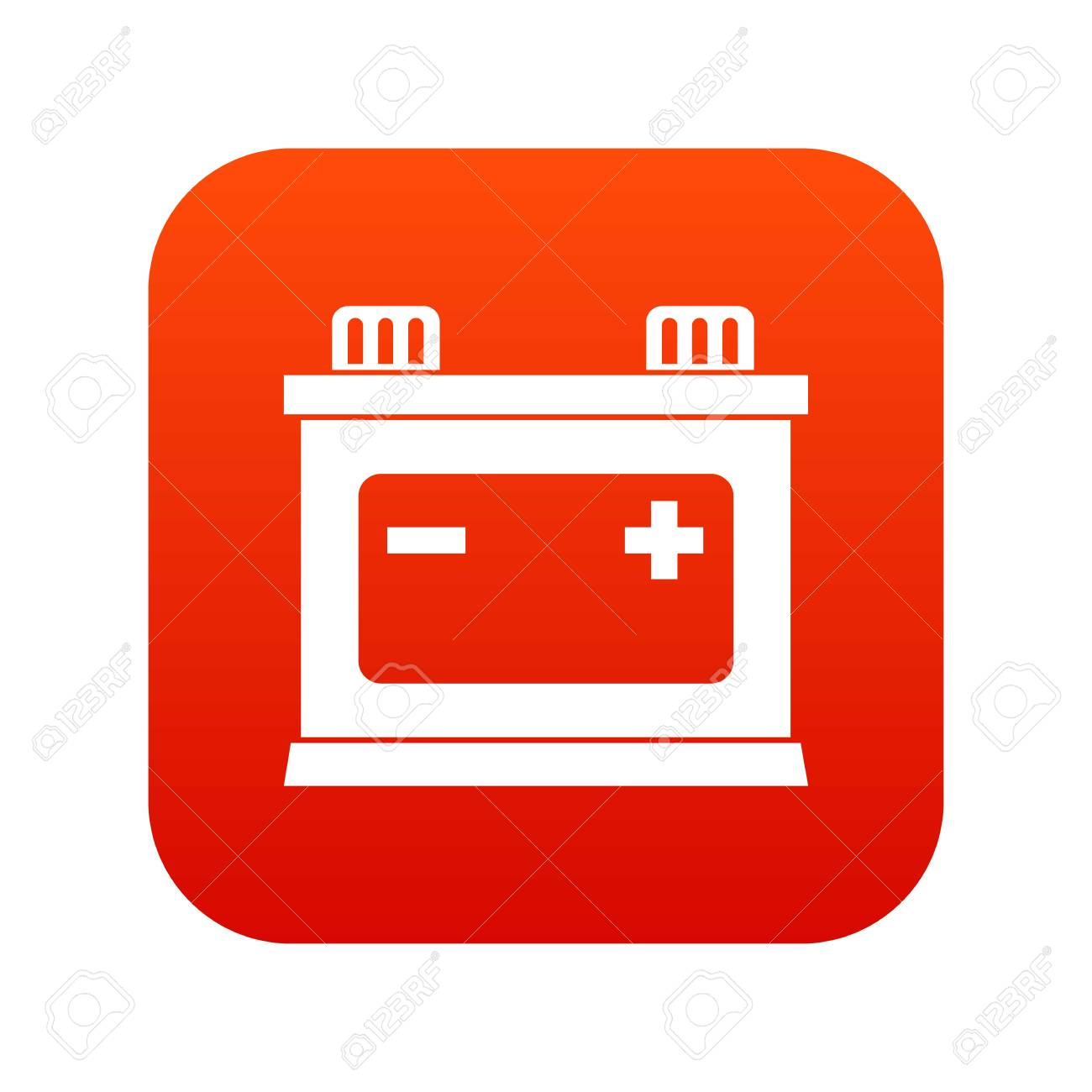 Car Battery Icon Digital Red For Any Design Isolated On White