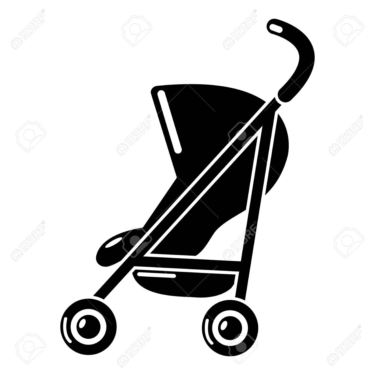 Baby carriage simple icon. Simple illustration of baby carriage simple vector icon for web - 89203465