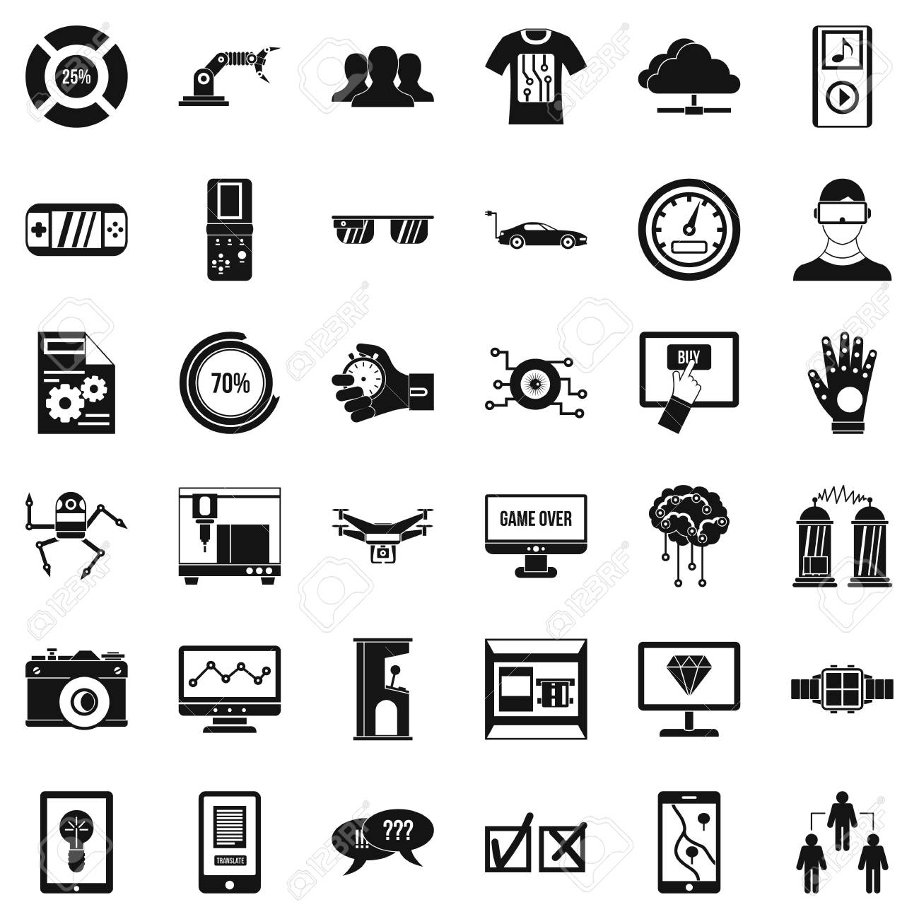 Simple style of 36 game over vector icons for web isolated