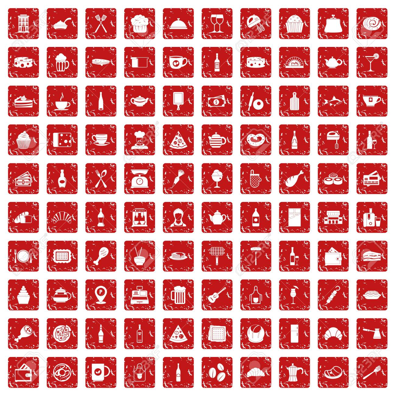 100 Restaurant Icons Set In Grunge Style Red Color Isolated On Royalty Free Cliparts Vectors And Stock Illustration Image 90652558