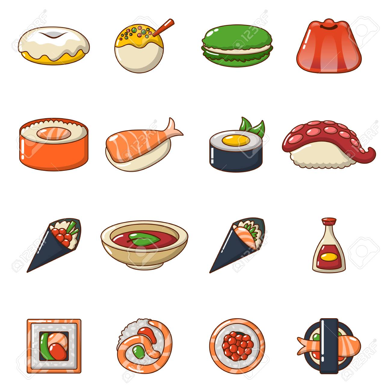 Japan Food Icons Set Cartoon Illustration Of 16 Japan Food Vector Royalty Free Cliparts Vectors And Stock Illustration Image 90915576