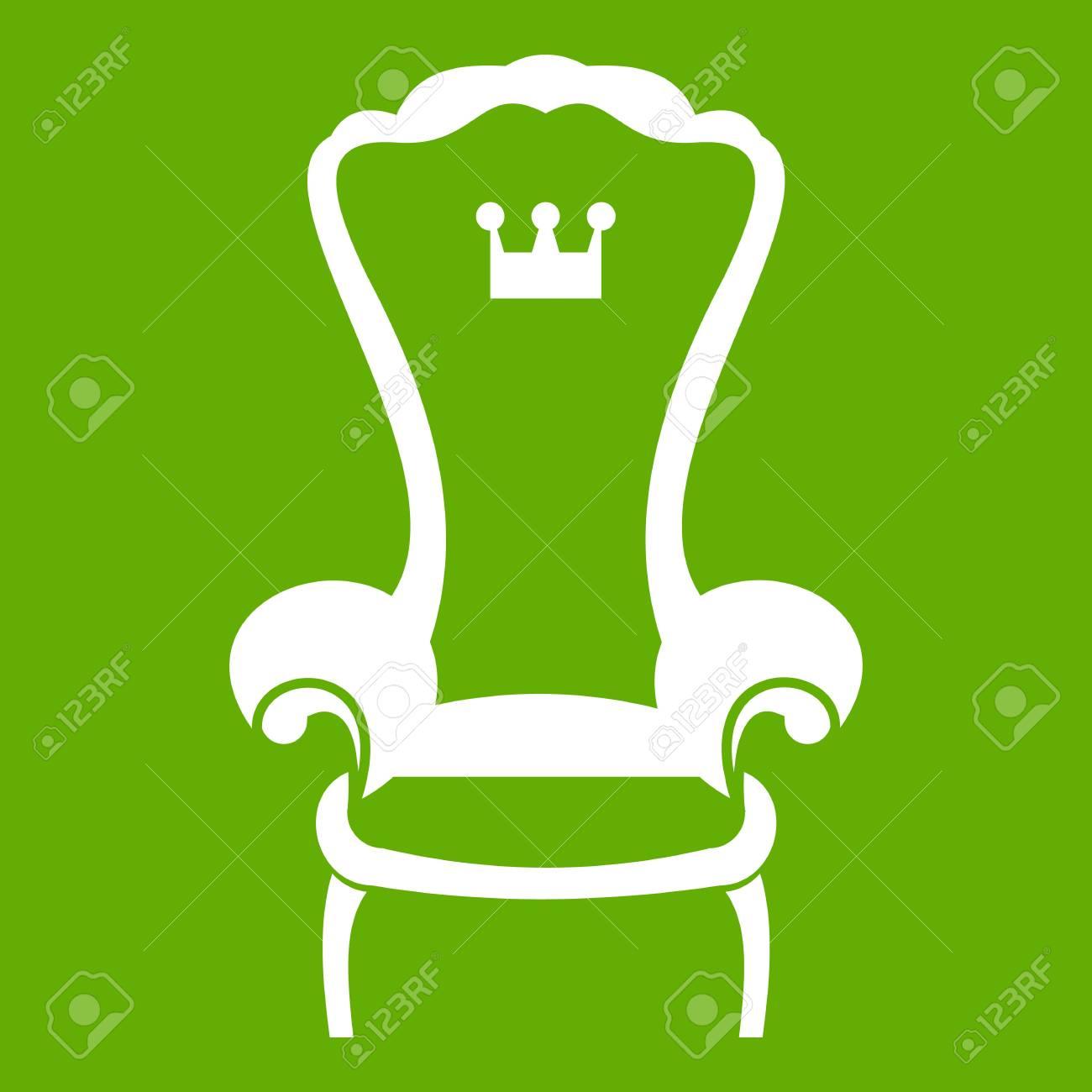 Icne De Chaise Trne Roi Blanc Isol Sur Fond Vert Illustration