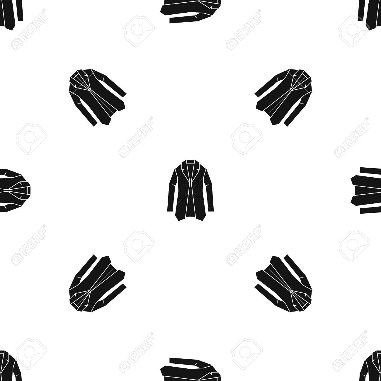 Repetición Del Patrón De La Chaqueta Sin Costuras En Color Negro ...