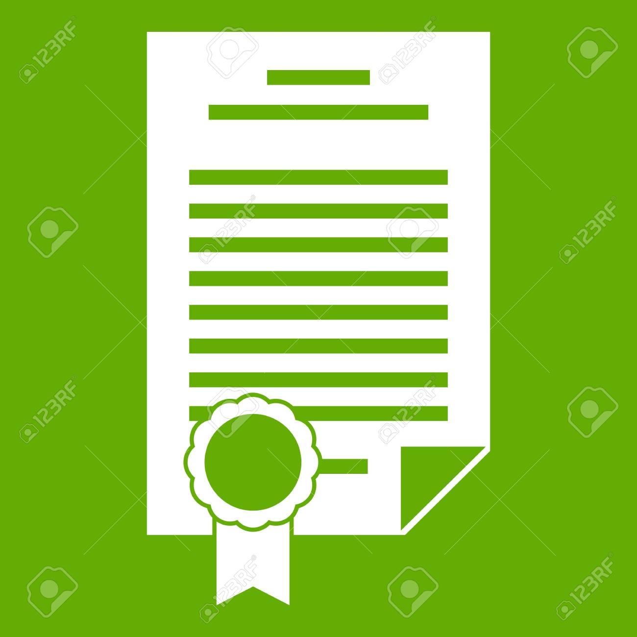Contrato Icono Verde Vector Ilustración. Ilustraciones Vectoriales ...