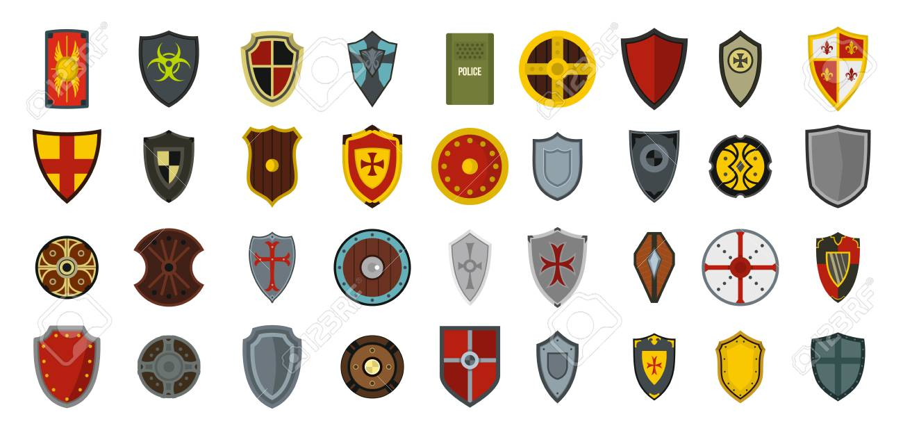 Shield icon set, flat style - 93394671
