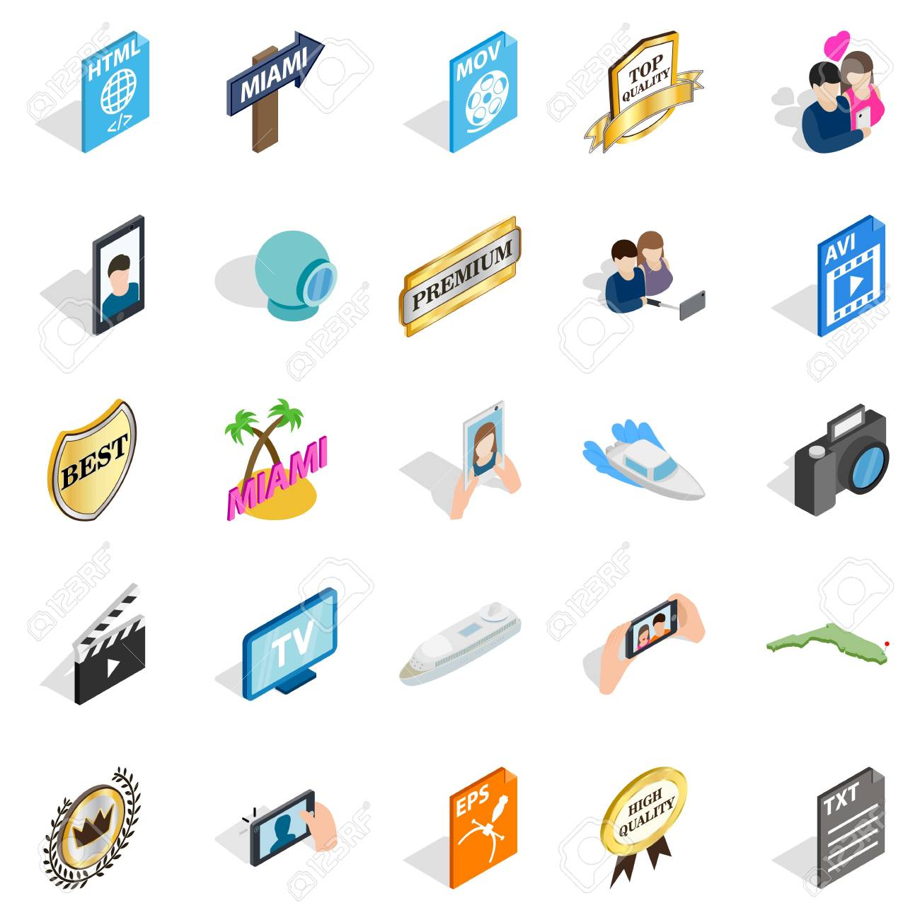 Music player icons set  Isometric set of music player vector