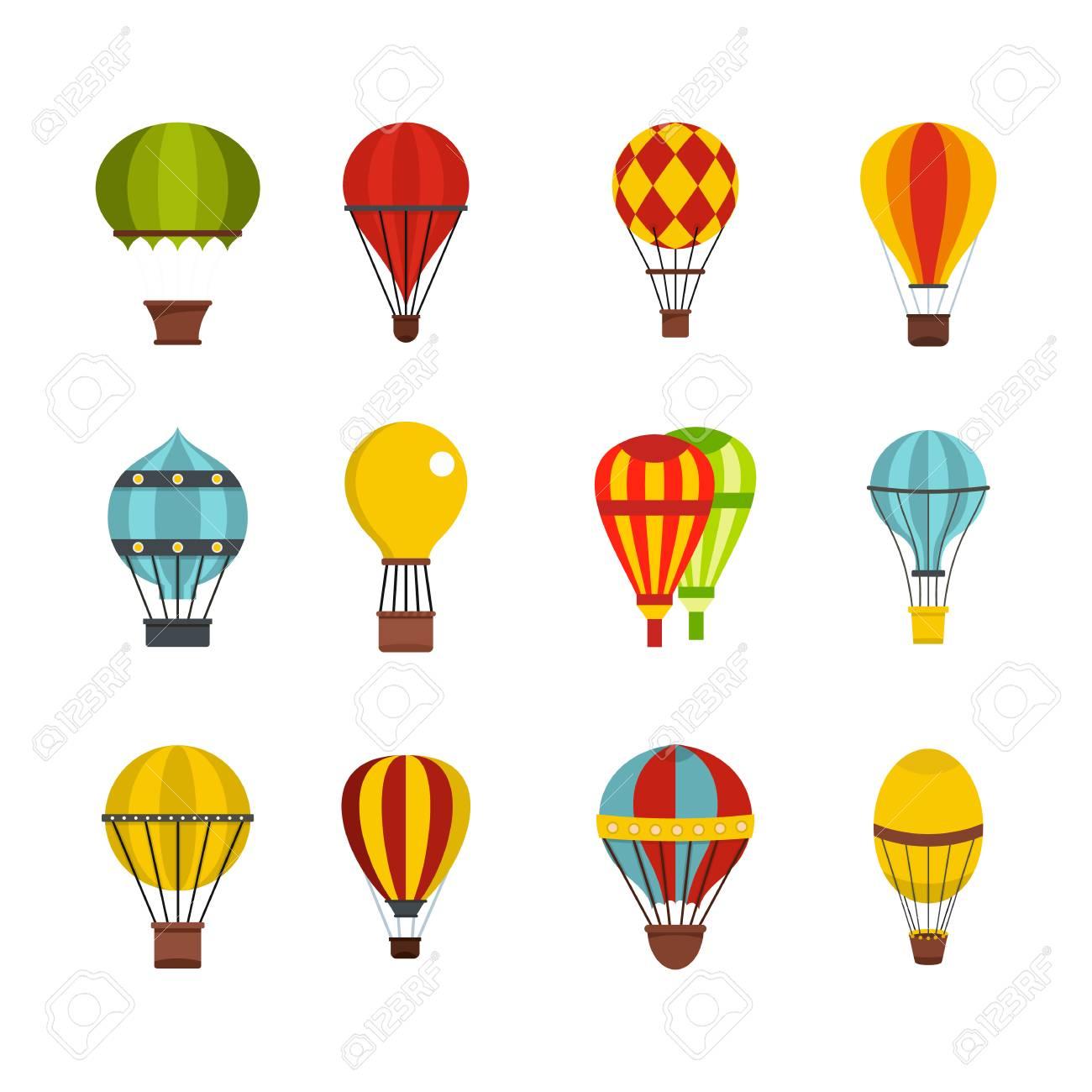 Air balloon icon set, flat style illustration. - 93965048