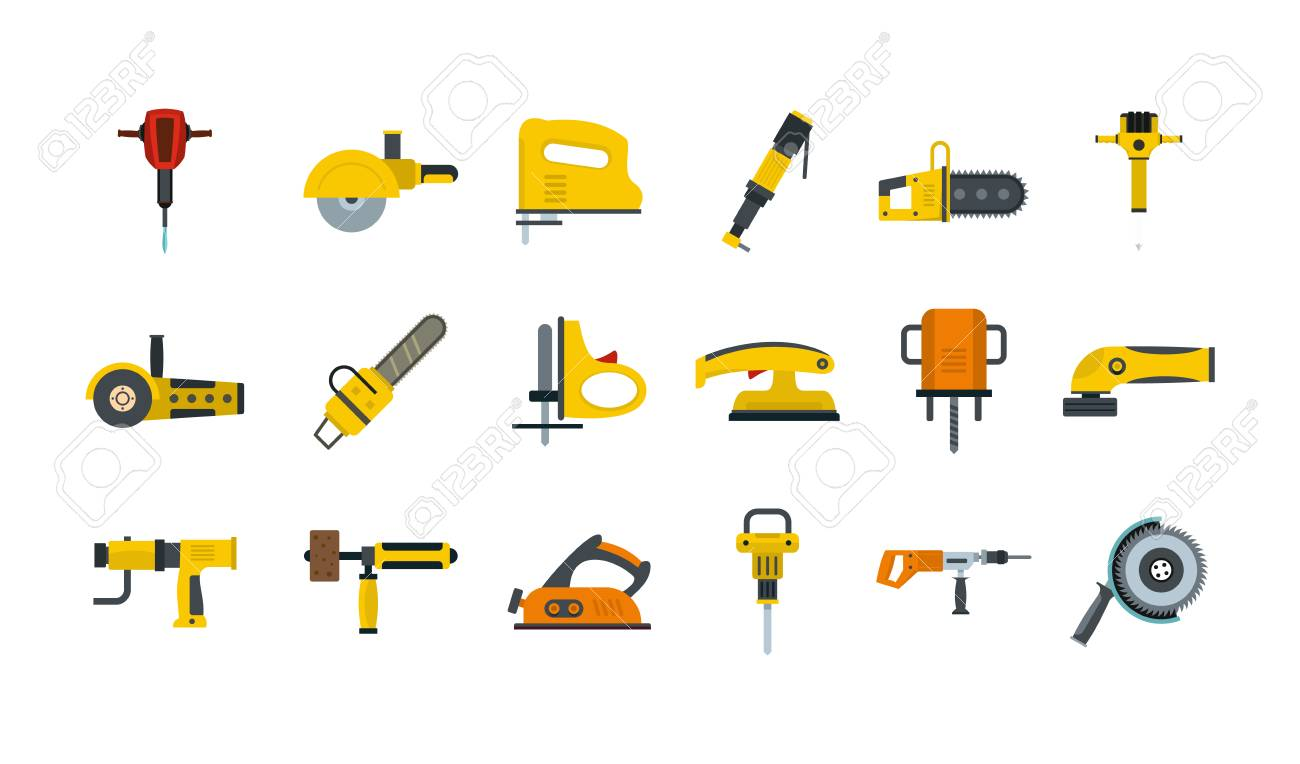 Electric tools icon set, flat style - 94188065