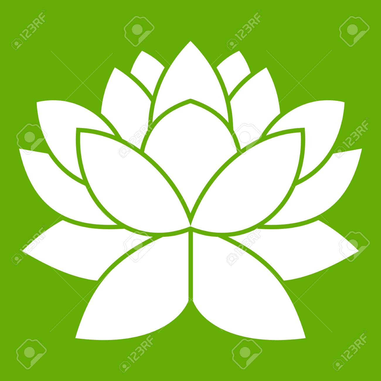 Lotus Flower Icon White Isolated On Green Background Vector