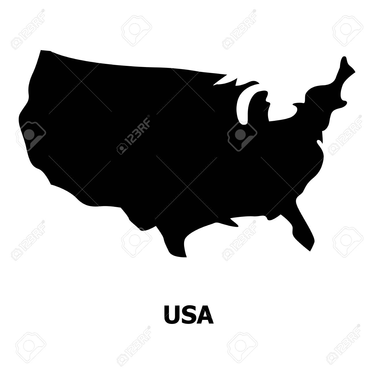 Usa Map Icon. Simple Illustration Of Usa Map Vector Icon For ...