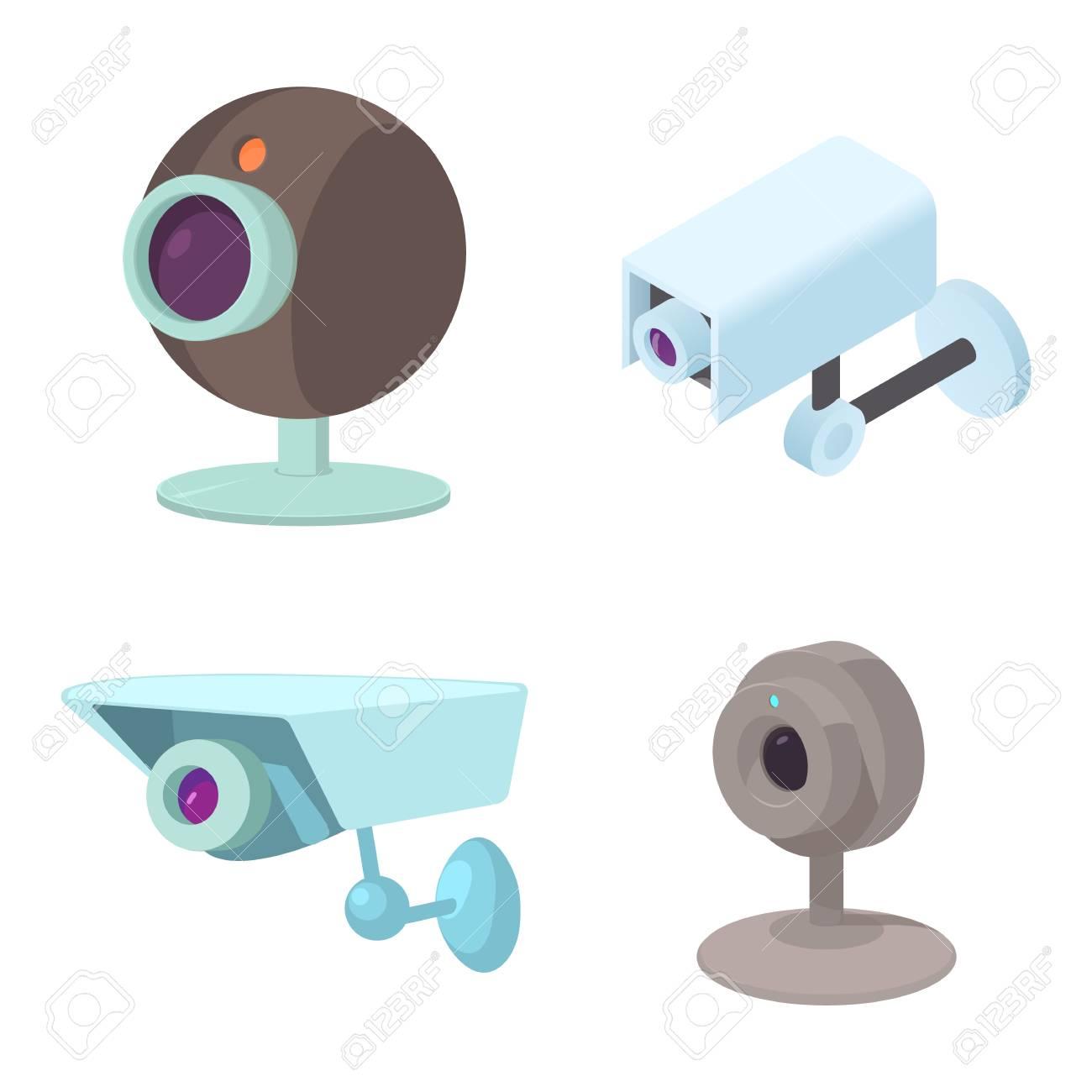 Security Camera Icon Set Cartoon Set Of Security Camera Vector