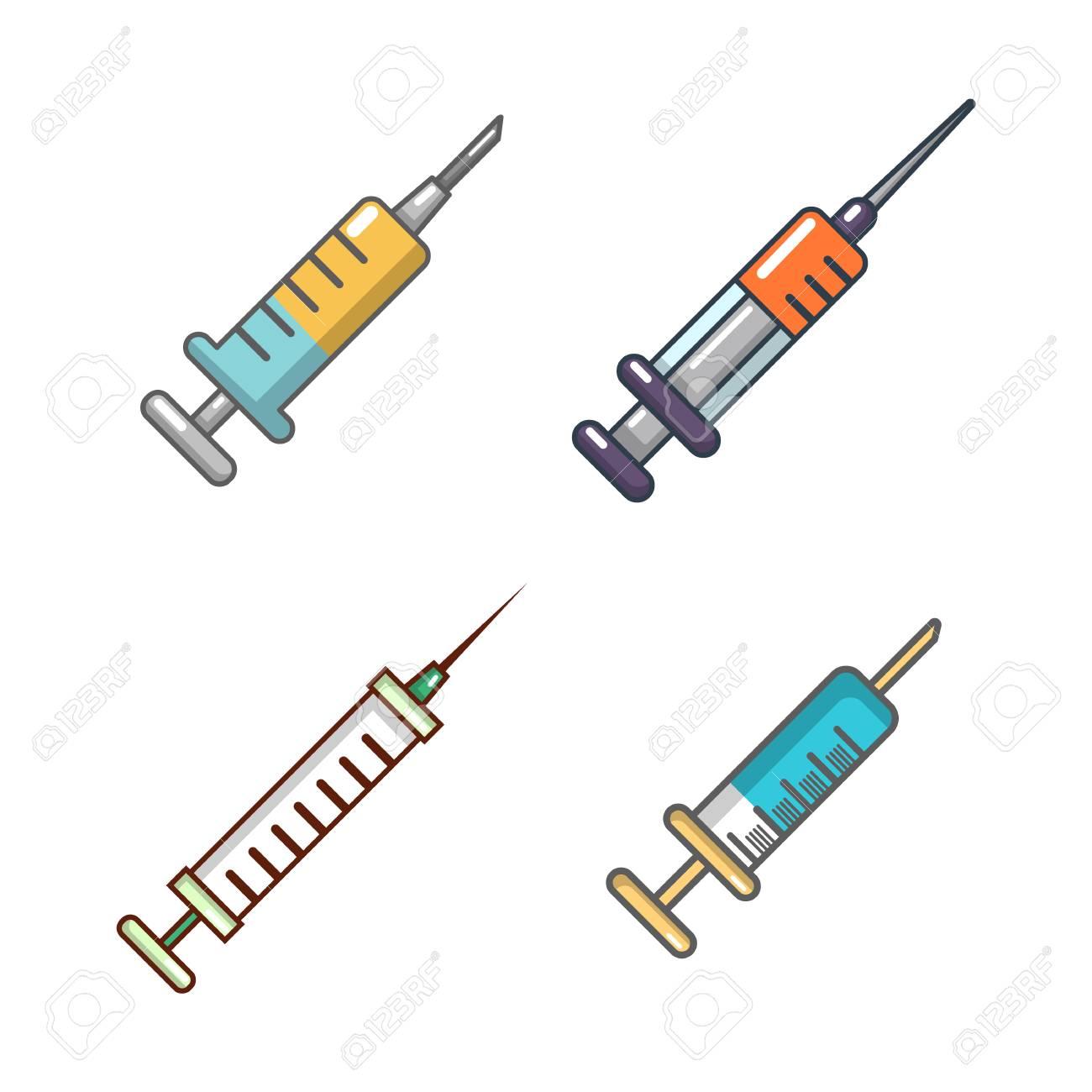 Syringe icon set, cartoon style - 97757334