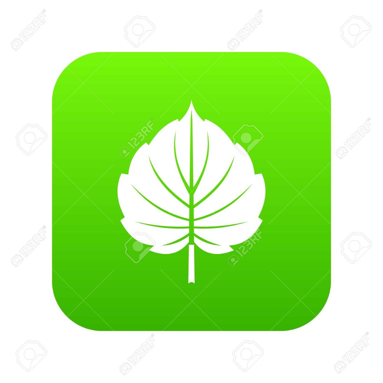 Alder leaf icon on digital green background - 99262201