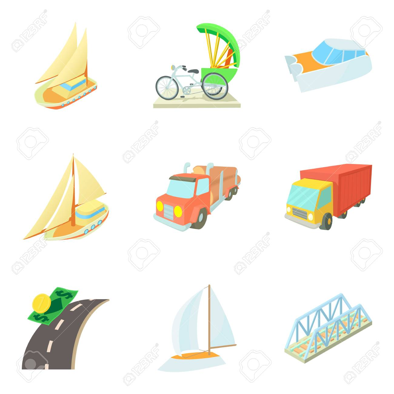 Means of transportation icons set, cartoon style vector illustration - 97700155