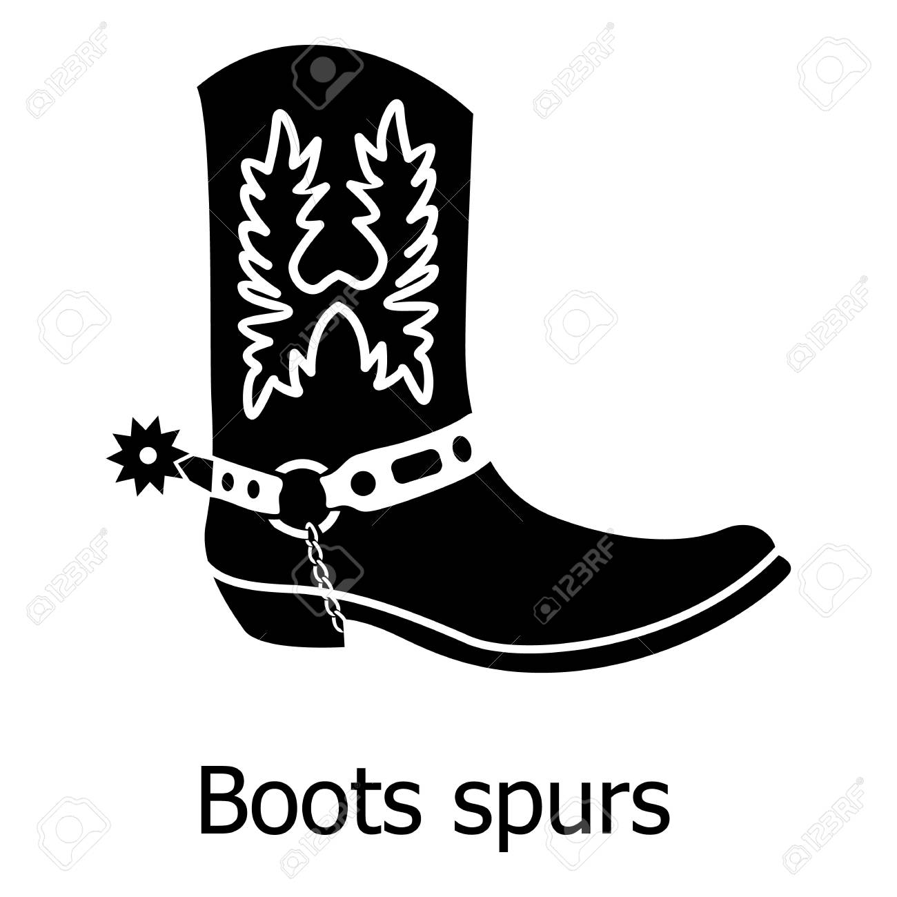 6ed3d3c3367 Boot spurs icon, simple black style Vector illustration.
