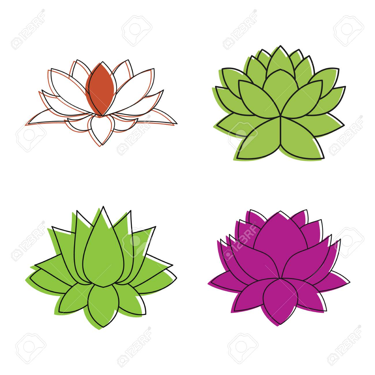 Lotus flower icon set color outline style royalty free cliparts lotus flower icon set color outline style stock vector 98986041 izmirmasajfo