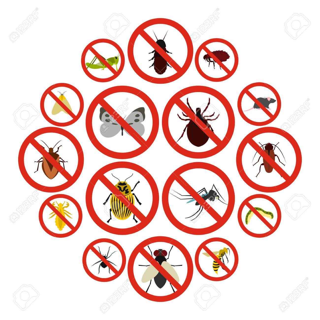 Flat no insect sign icons set. Universal no insect sign icons to use for web and mobile UI, set of basic no insect sign elements isolated vector illustration - 100065638