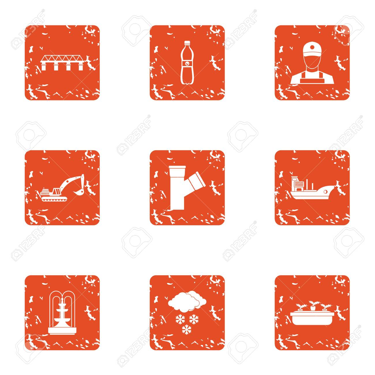 Bring water icons set. Grunge set of 9 bring water vector icons for web isolated on white background - 112301477