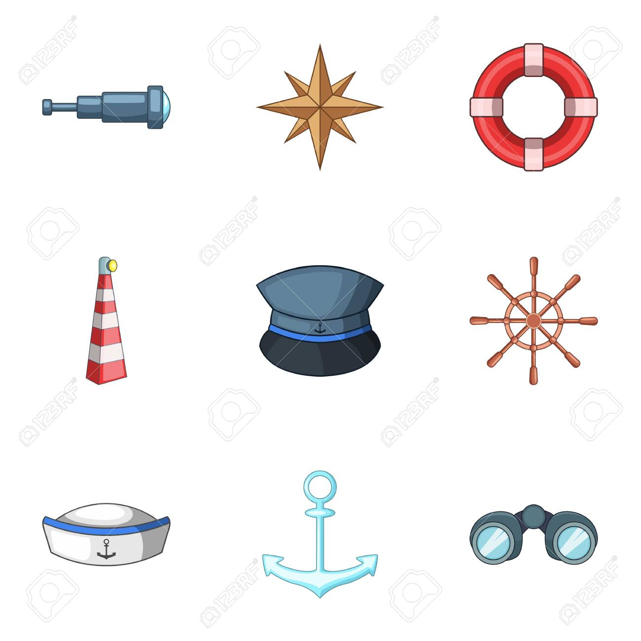 Sea walk icons set. Cartoon set of 9 sea walk vector icons for web isolated on white background - 111905902