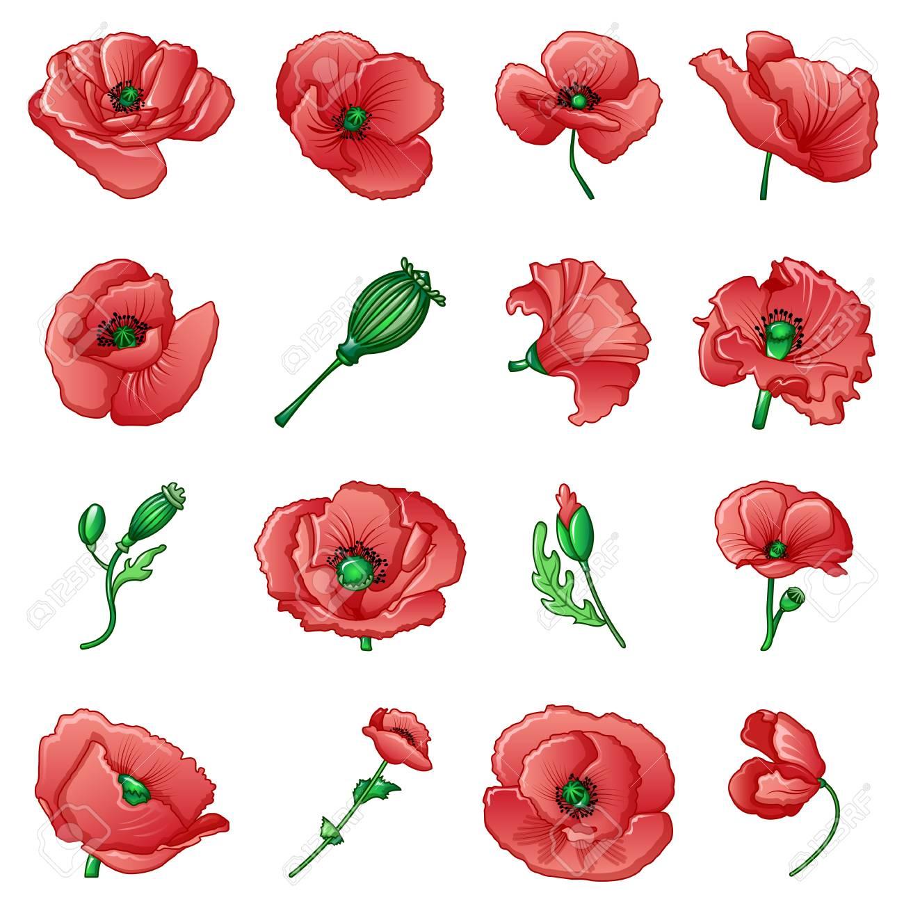 Poppy Flower Remembrance Day Icons Set Cartoon Illustration