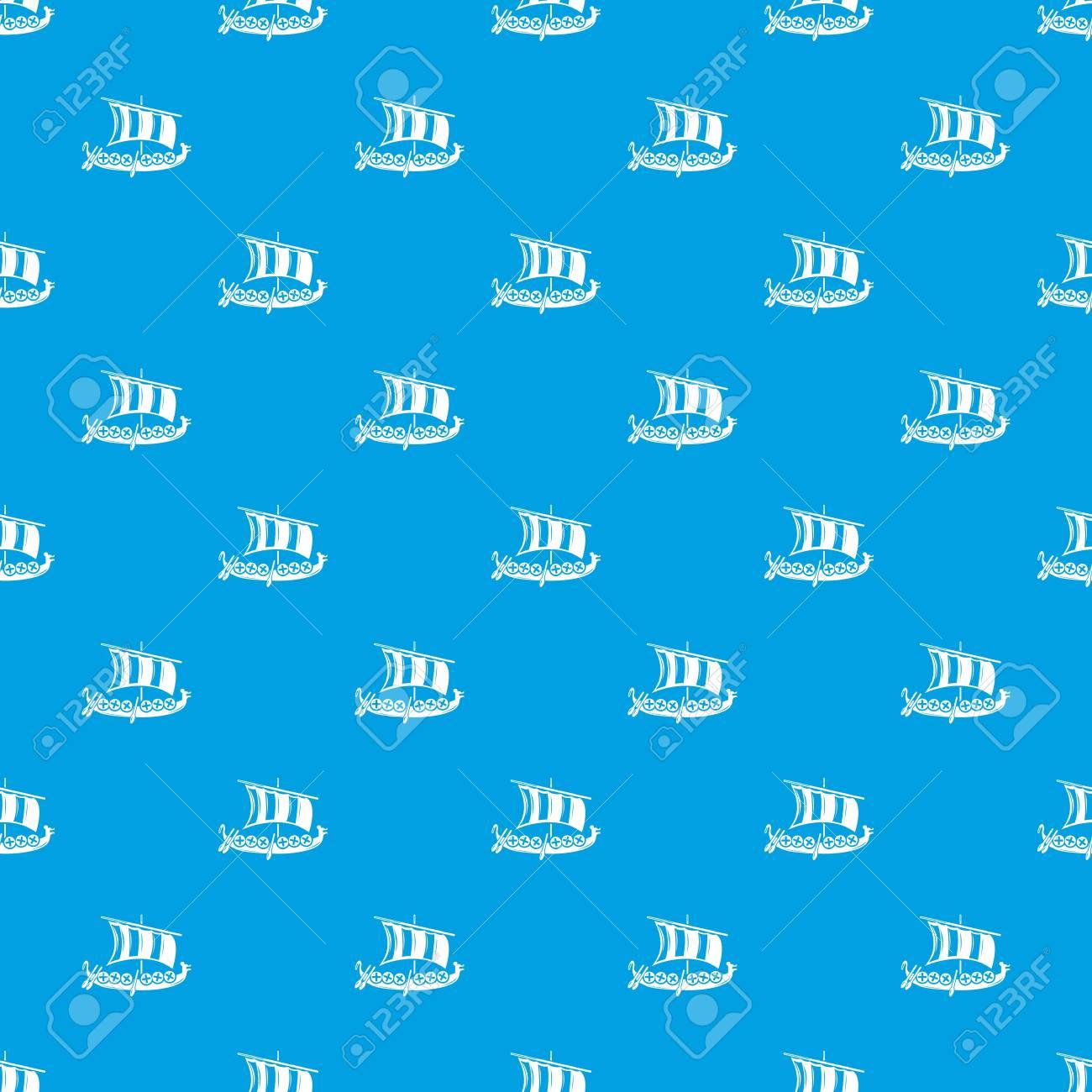 Viking Ship Pattern Vector Seamless Blue Royalty Free Cliparts
