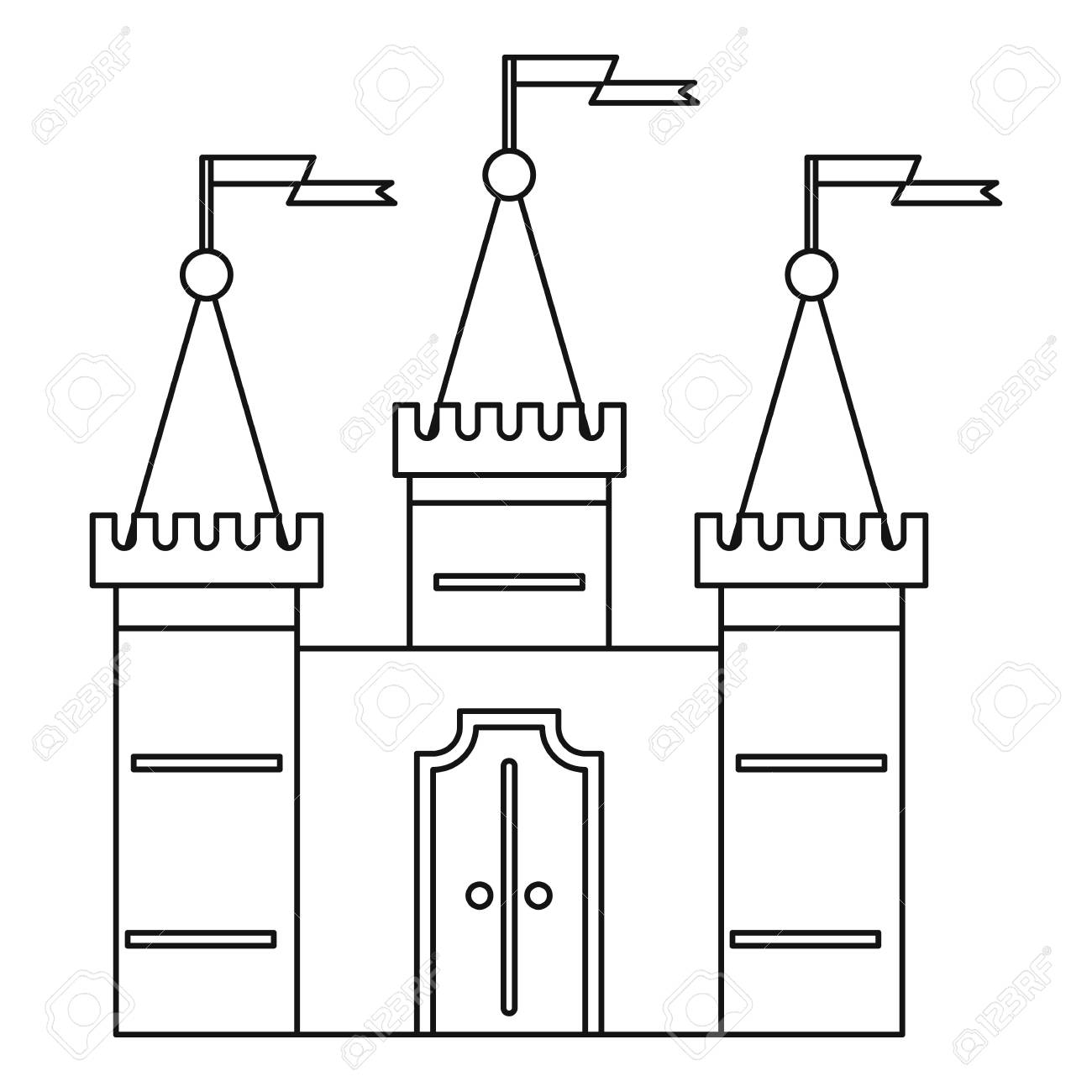 Castle Icon Outline Style Stock Photo