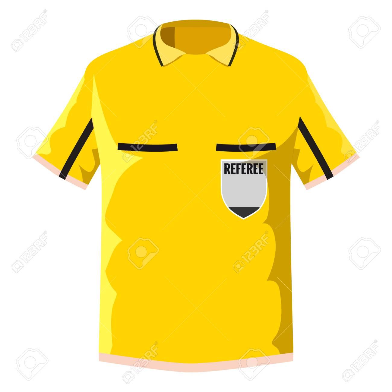 Yellow soccer referee shirt icon. Cartoon illustration of yellow soccer  referee shirt icon for web 358418061