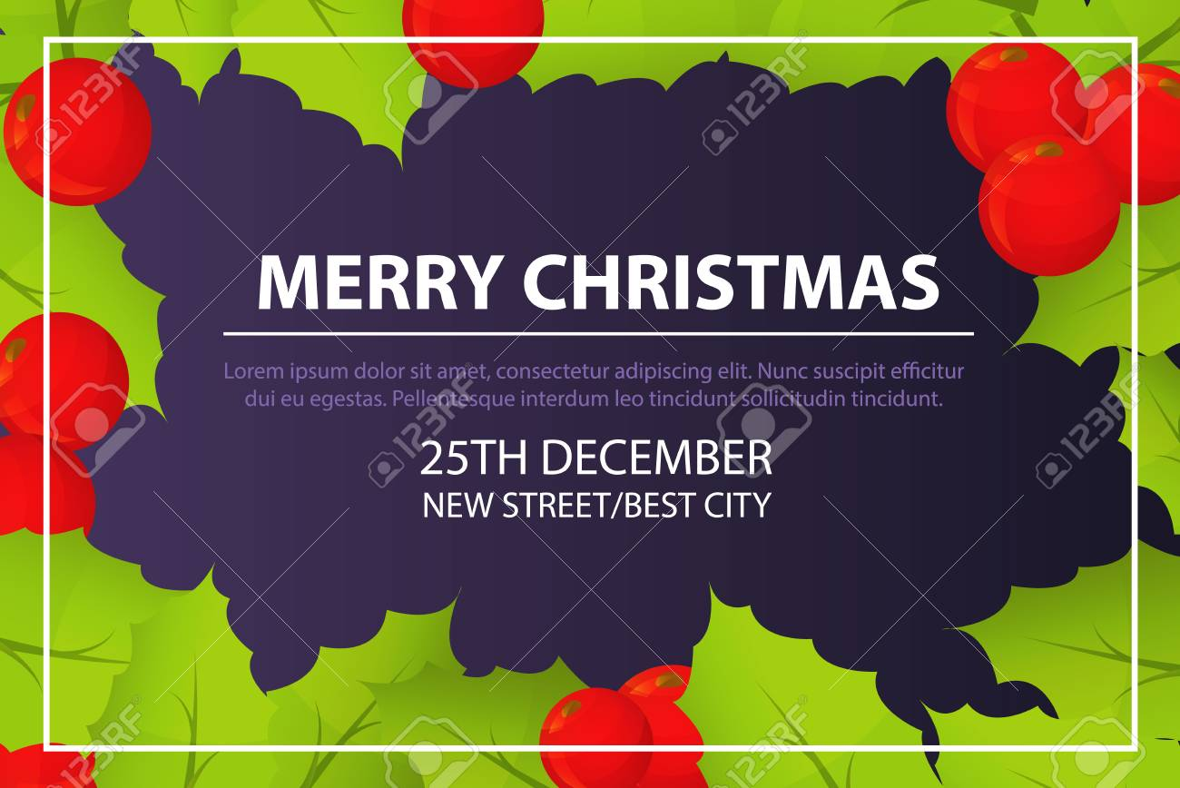 Merry Christmas Invitation Card Concept Background Isometric