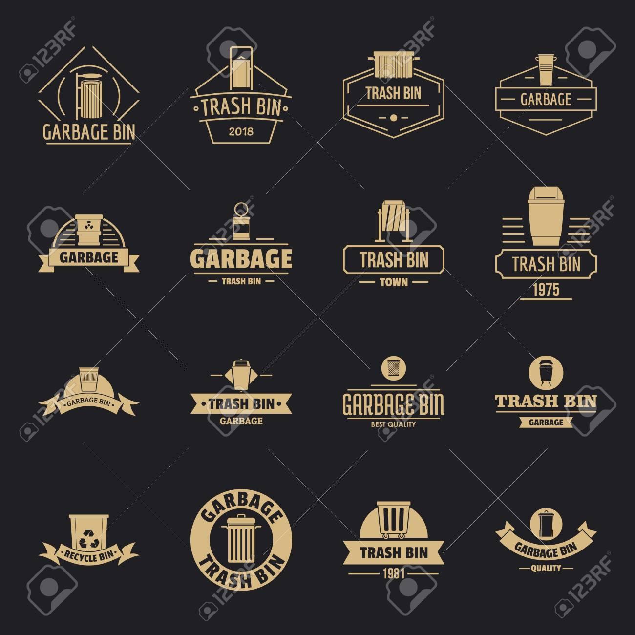 Trash bin icons set, simple style - 114374912