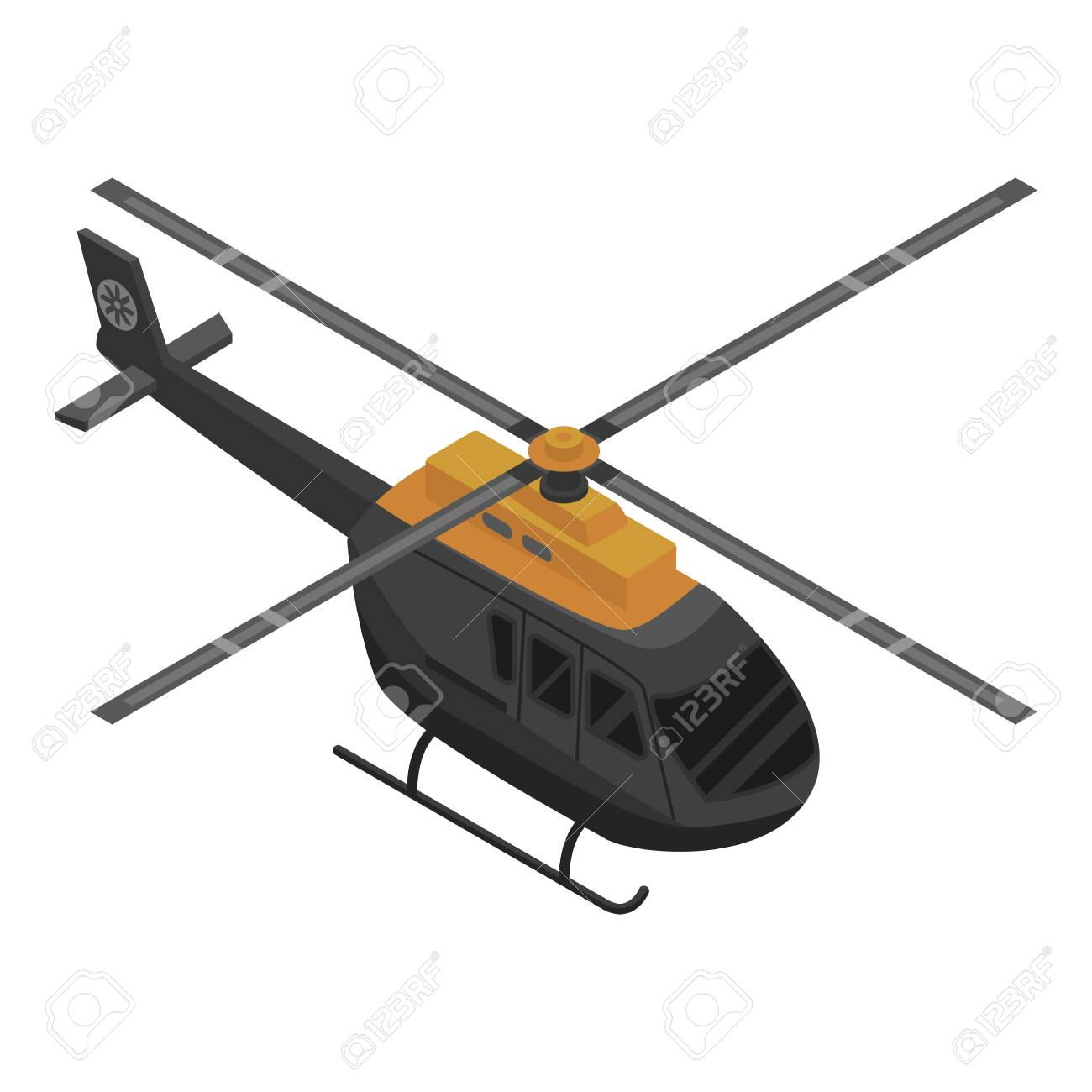 Black helicopter icon. Isometric of black helicopter vector icon for web design isolated on white background - 114640314
