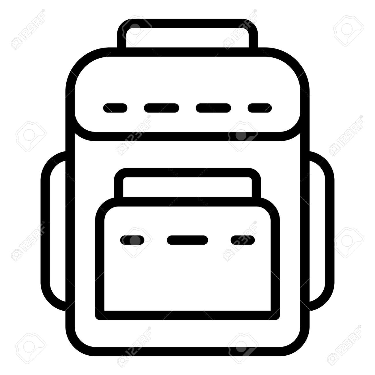 Textile backpack icon. Outline textile backpack vector icon for web design isolated on white background - 125868036