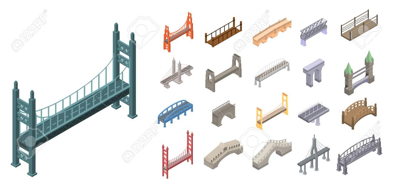 Bridges icons set, isometric style - 117038635