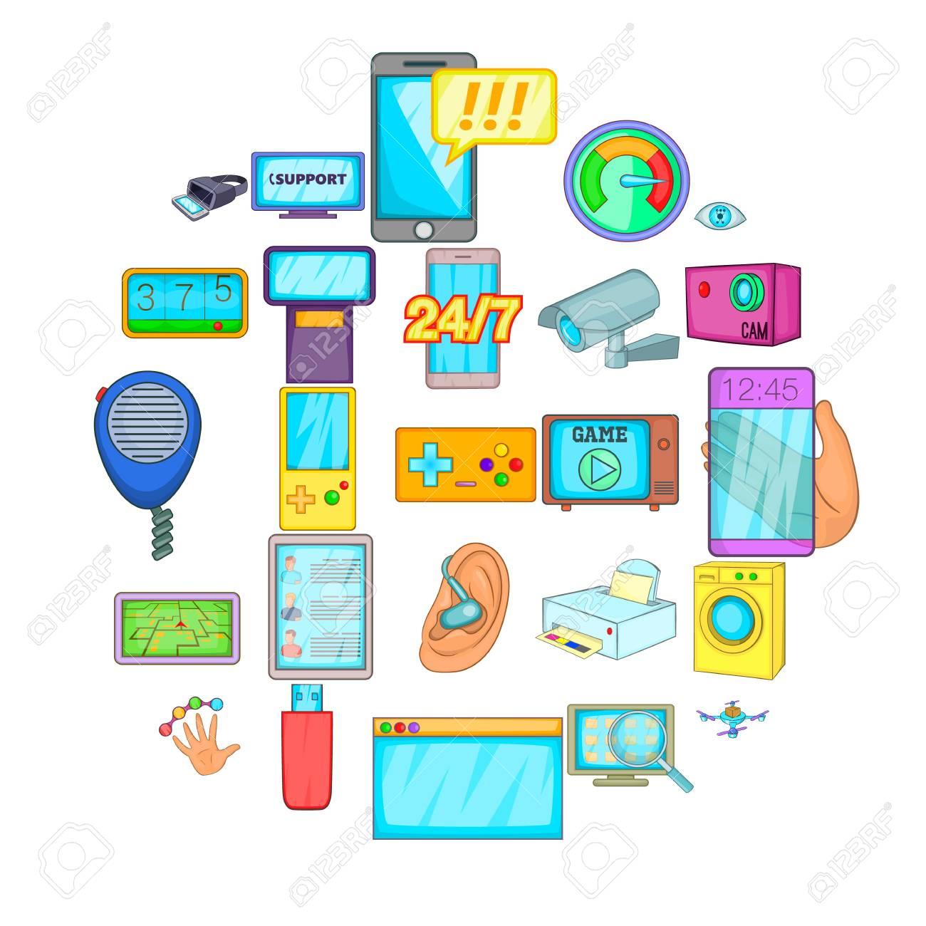 Fix the electronics icons set. Cartoon set of 25 fix the electronics vector icons for web isolated on white background - 125213712