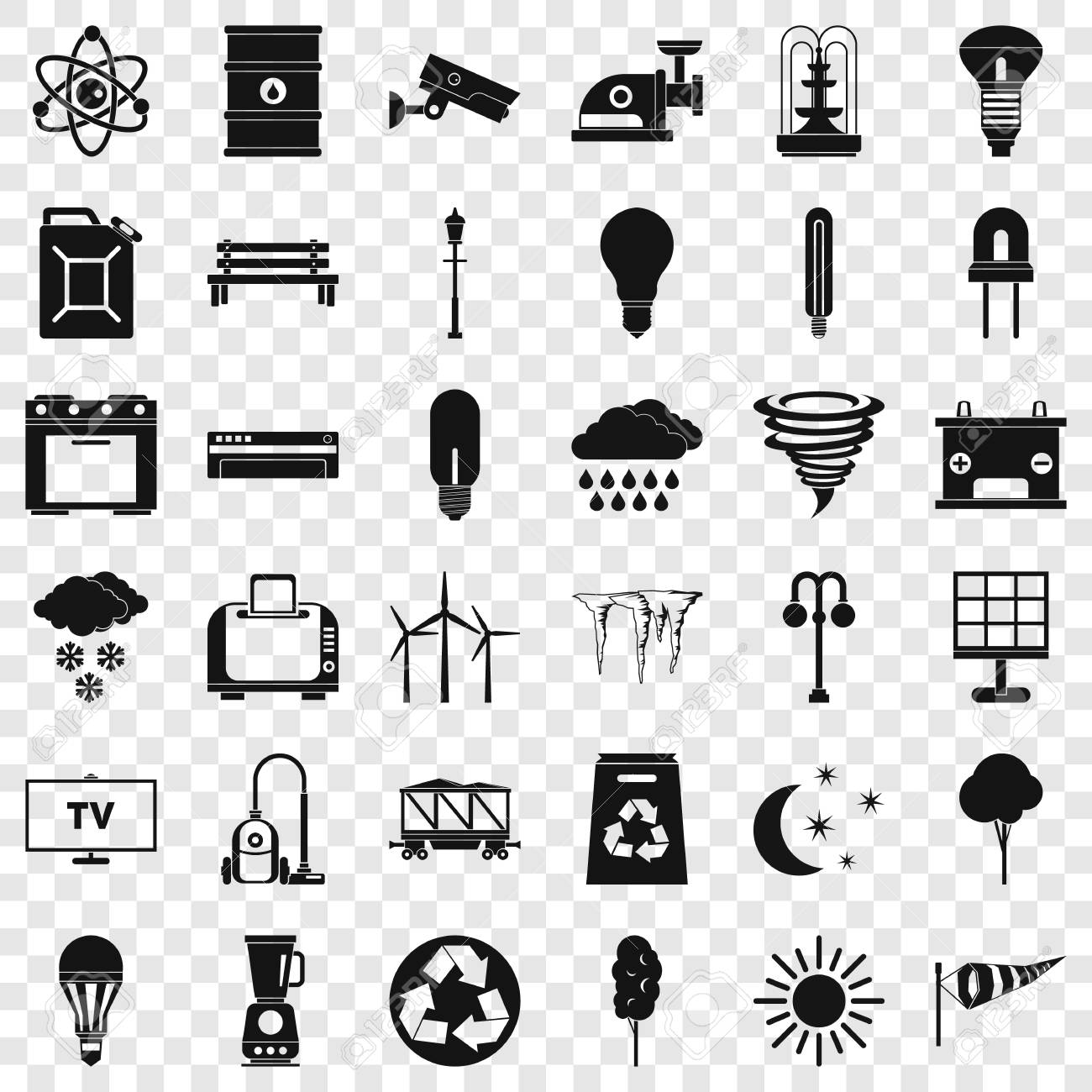 Windmill village icons set, simple style - 117116887