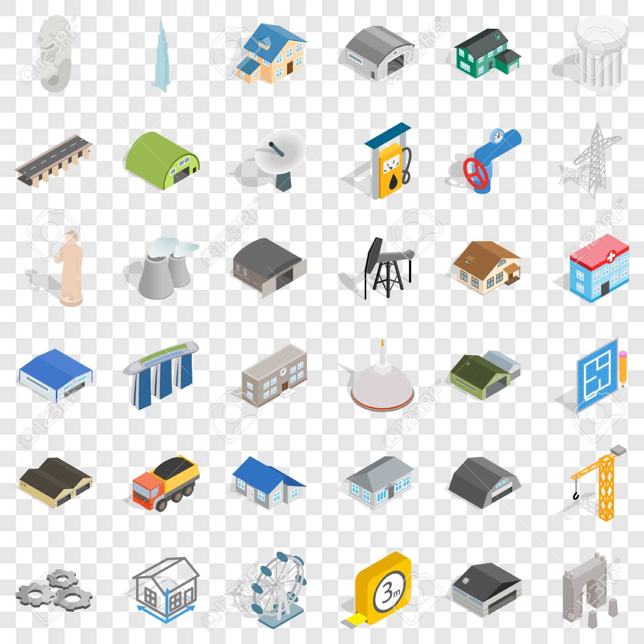 Engineering icons set, isometric style - 117565705