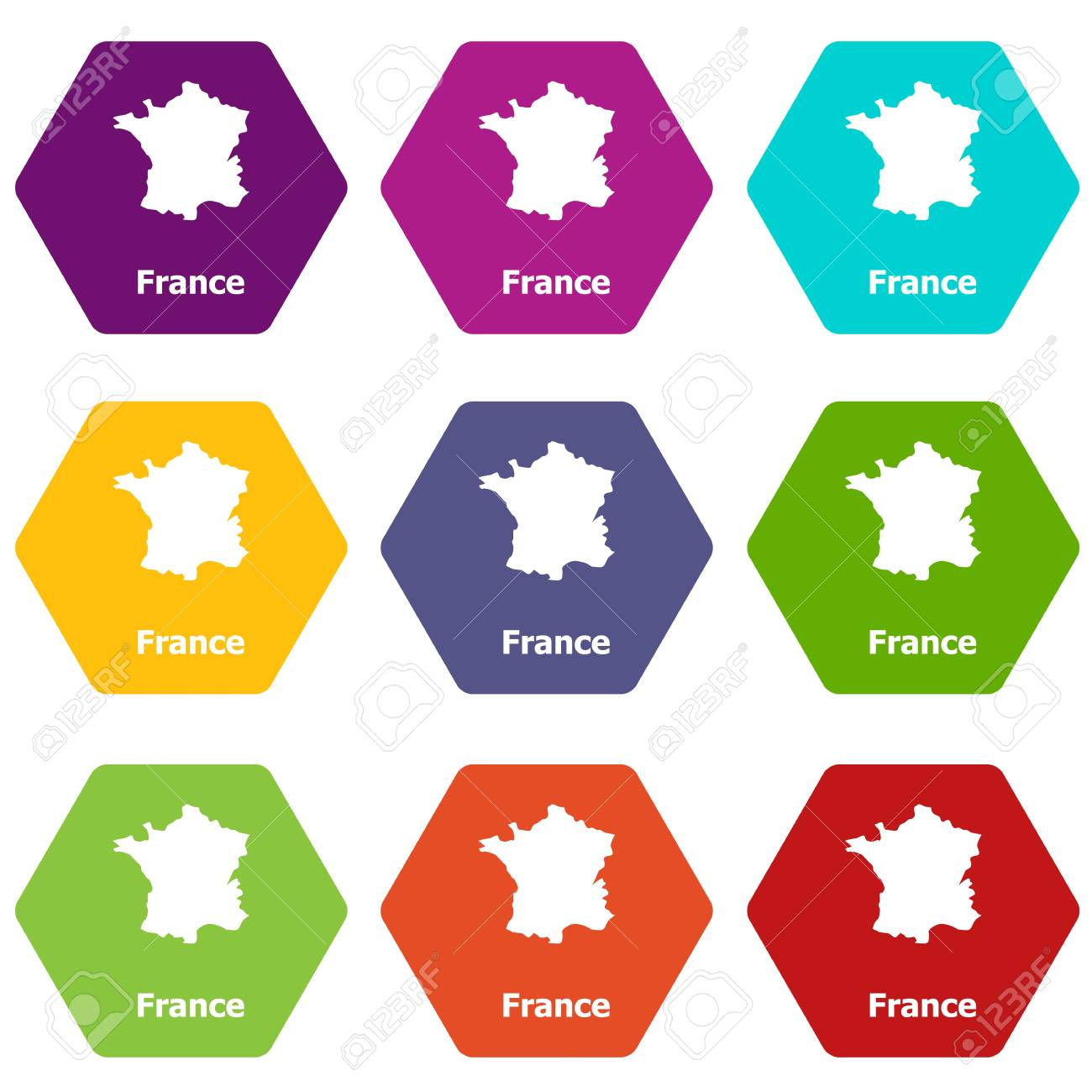 France map icons set 9 vector - 117489308