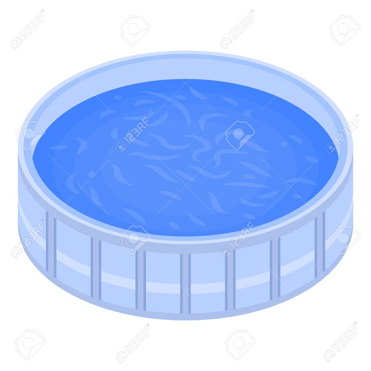 Round swimming pool icon. Isometric of round swimming pool vector..