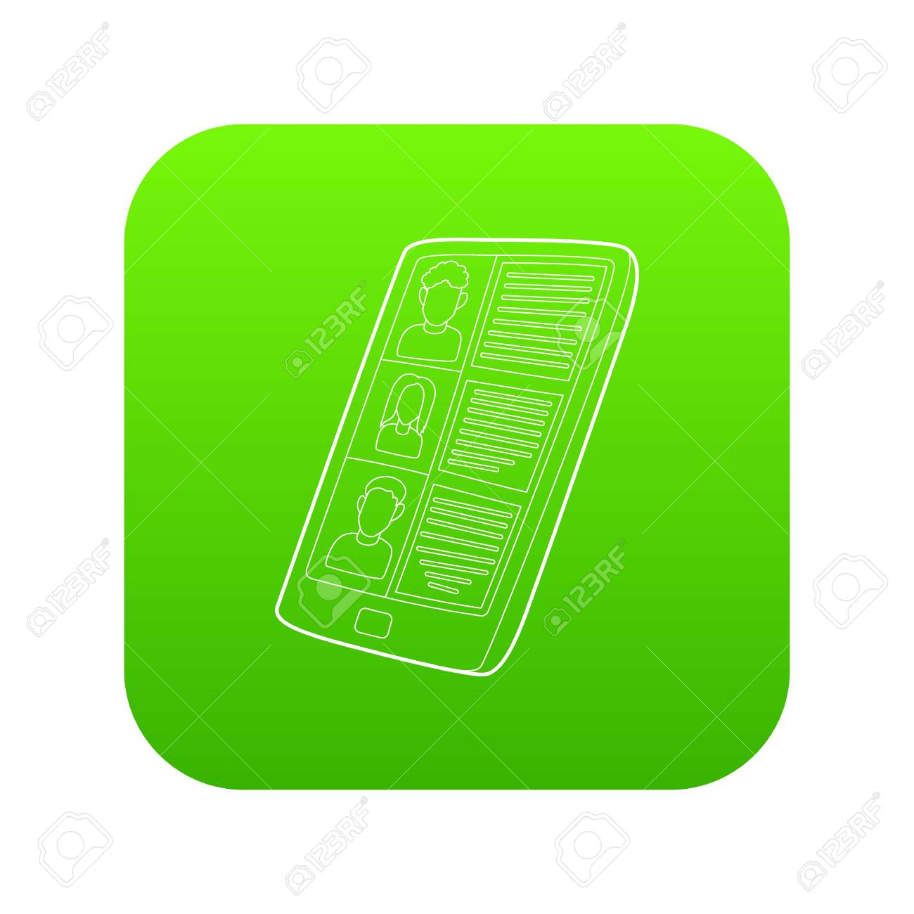 Resumes on the tablet screen icon green vector isolated on white