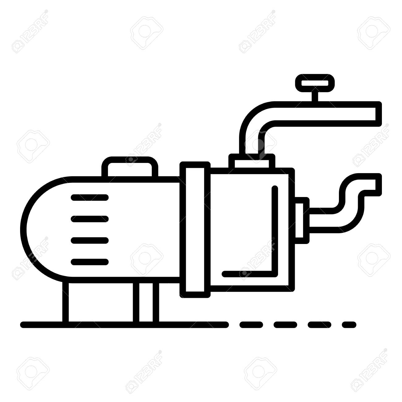 Pool motor pump icon. Outline pool motor pump vector icon for web design isolated on white background - 124405130