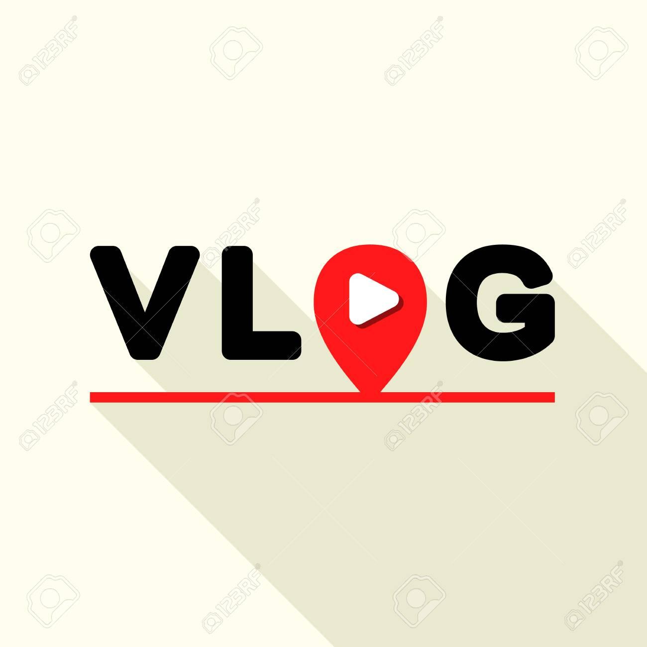 Vlog logo, flat style - 119569411