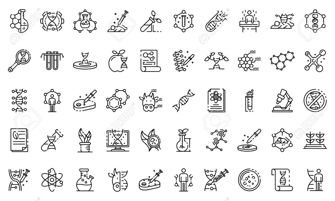 Genetic engineering icons set. Outline set of genetic engineering vector icons for web design isolated on white background - 124104983