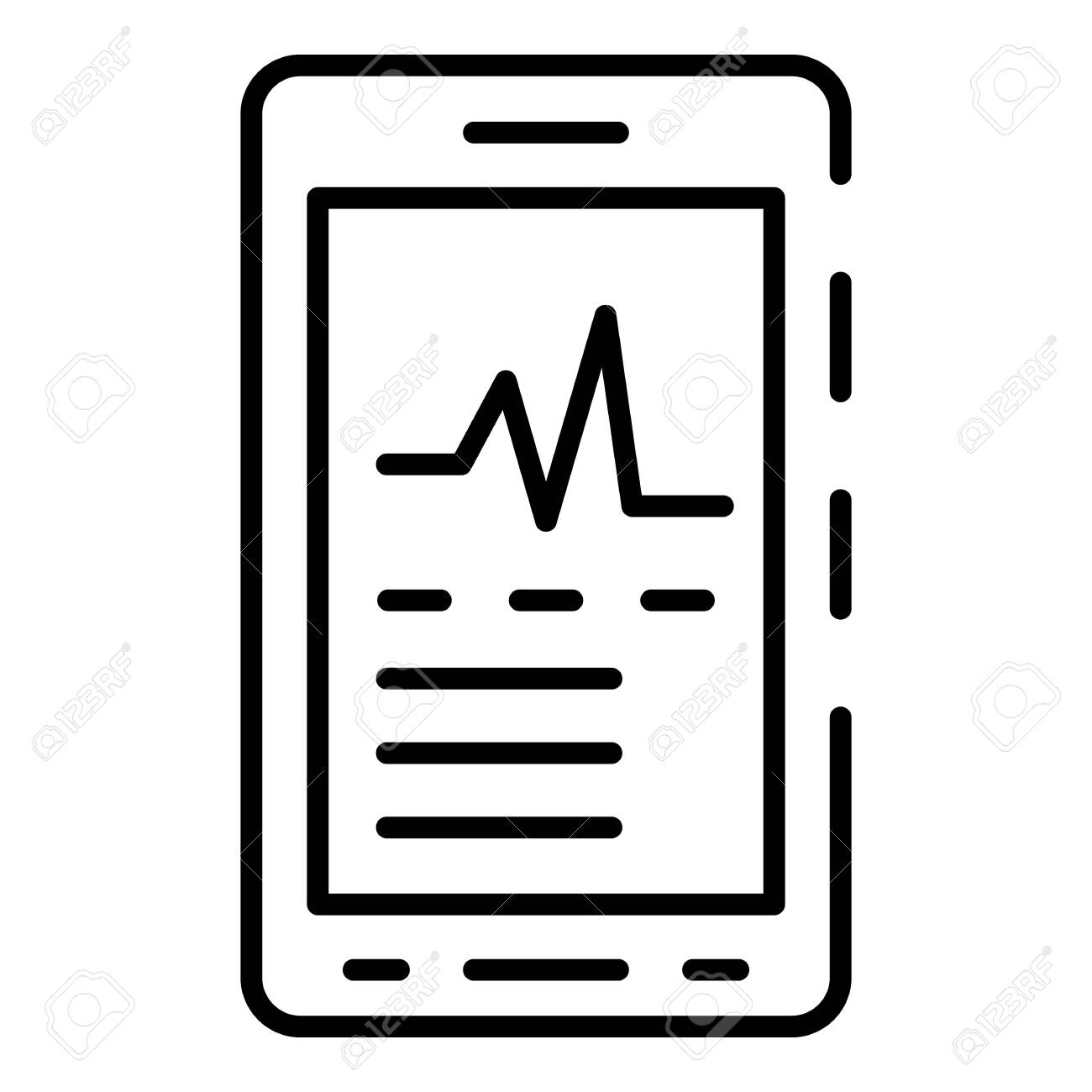 Heart rate apps icon  Outline heart rate apps vector icon for