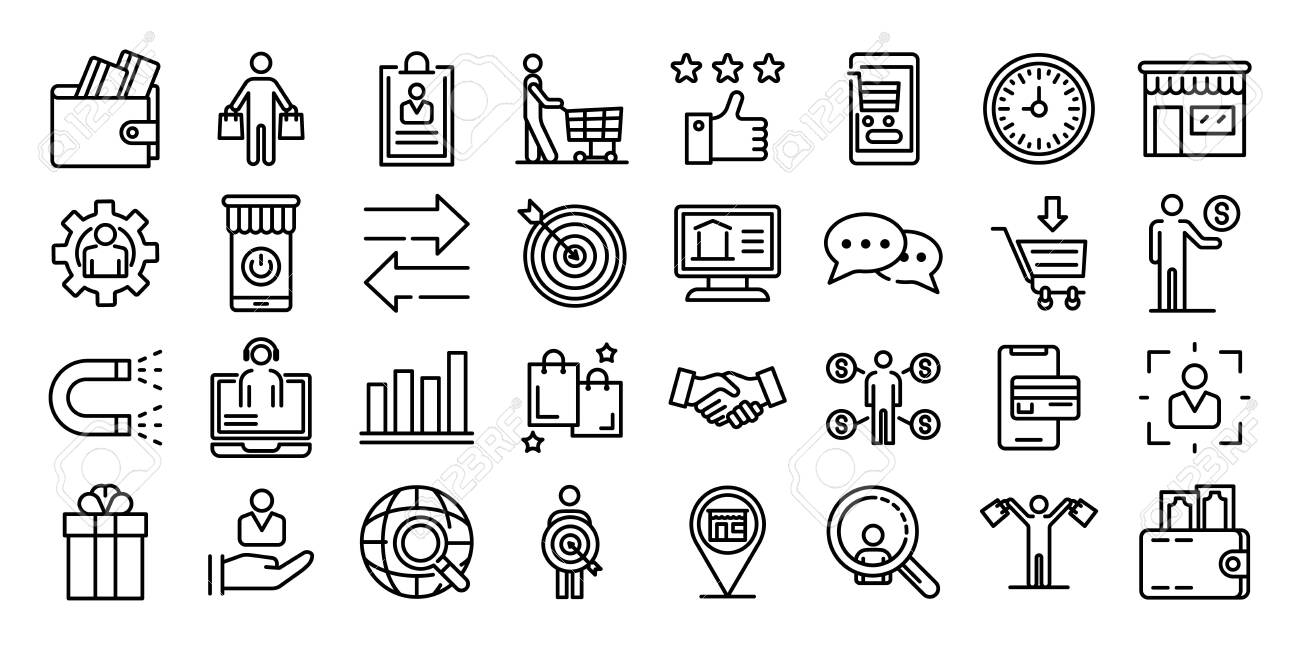 Buyer icons set, outline style - 124538265