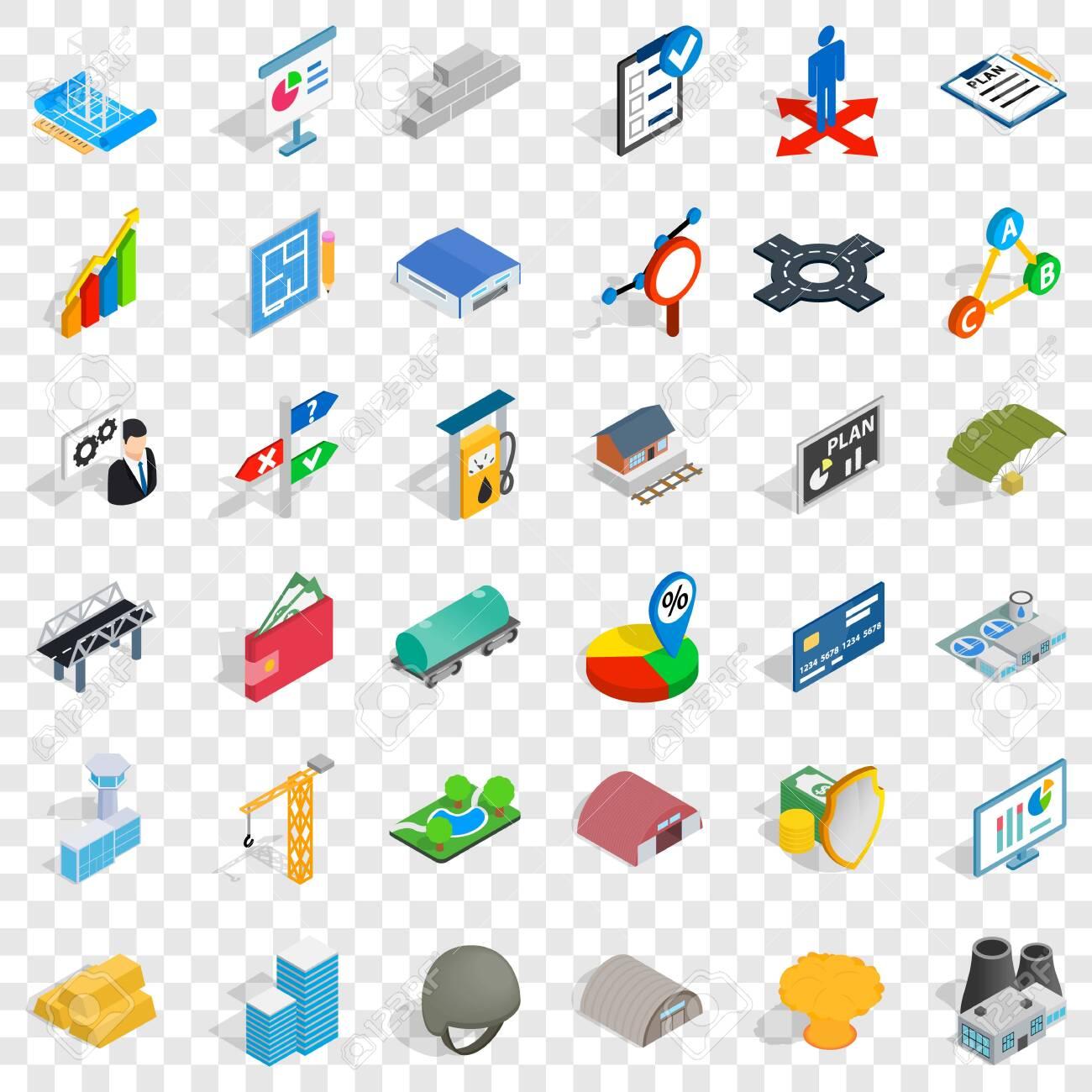 Gas station icons set, isometric style - 126764163