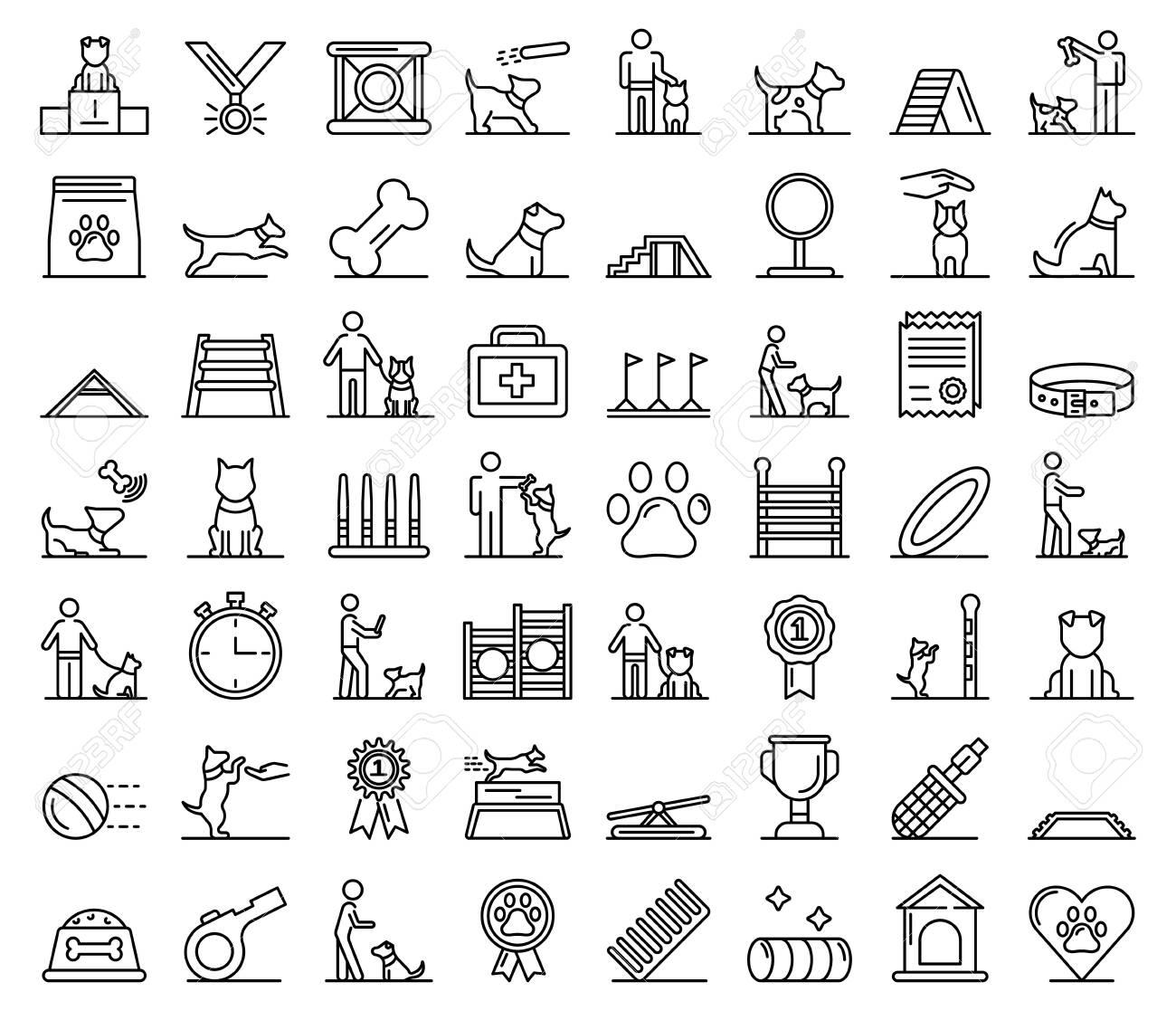 Dog training icons set, outline style - 127088189